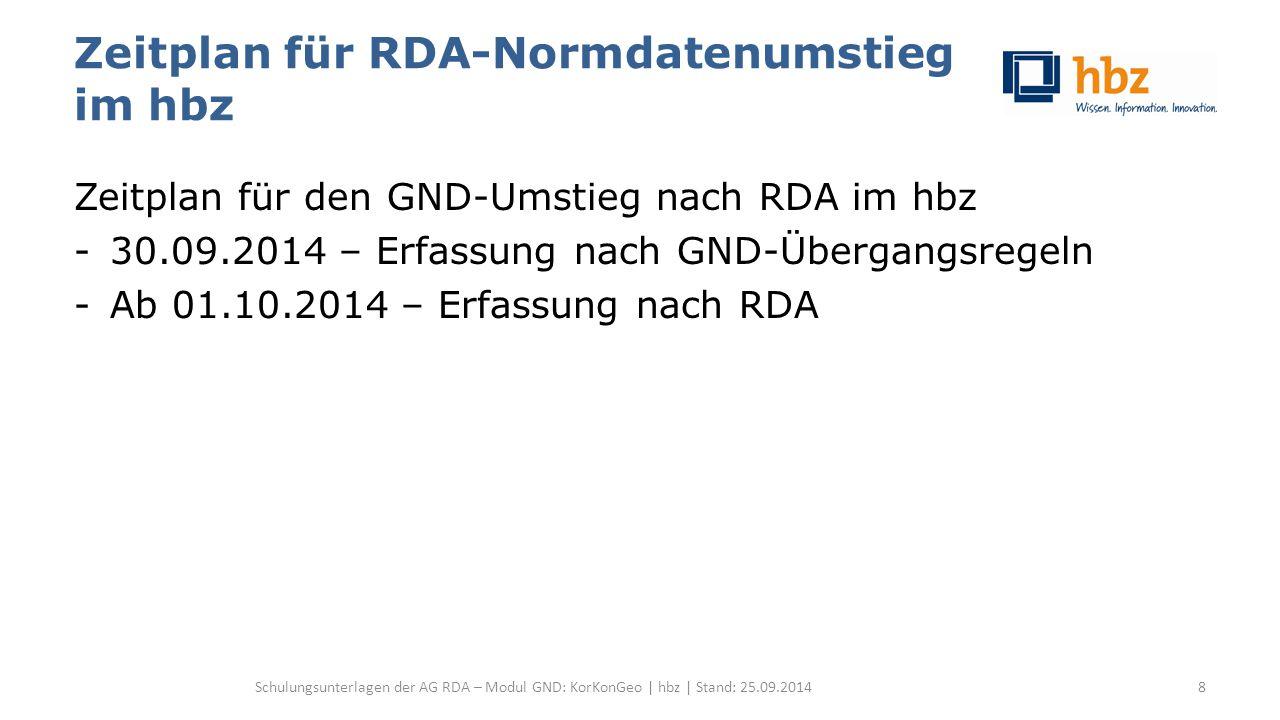 Konferenzen Zählung, Jahr, Ort, sonstige Zusätze -2- Jahr (RDA 11.4.2.3, ERL 3 zu RDA 11.13.1.8.1): Wie bisher – Zur Unterscheidung gleichnamiger Konferenzen im gleichen Jahr werden die genauen Datumsangaben der Vorlage angegeben, standardisiert als Ziffern – Zusätzlich wird in Feld 548 die genaue Datumsangabe in der Form TT.MM.JJJJ angegeben Schulungsunterlagen der AG RDA – Modul GND: KorKonGeo | hbz | Stand: 25.09.2014259