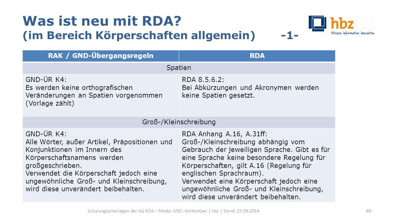 Was ist neu mit RDA? (im Bereich Körperschaften allgemein) -1- Schulungsunterlagen der AG RDA – Modul GND: KorKonGeo | hbz | Stand: 25.09.2014 RAK / G