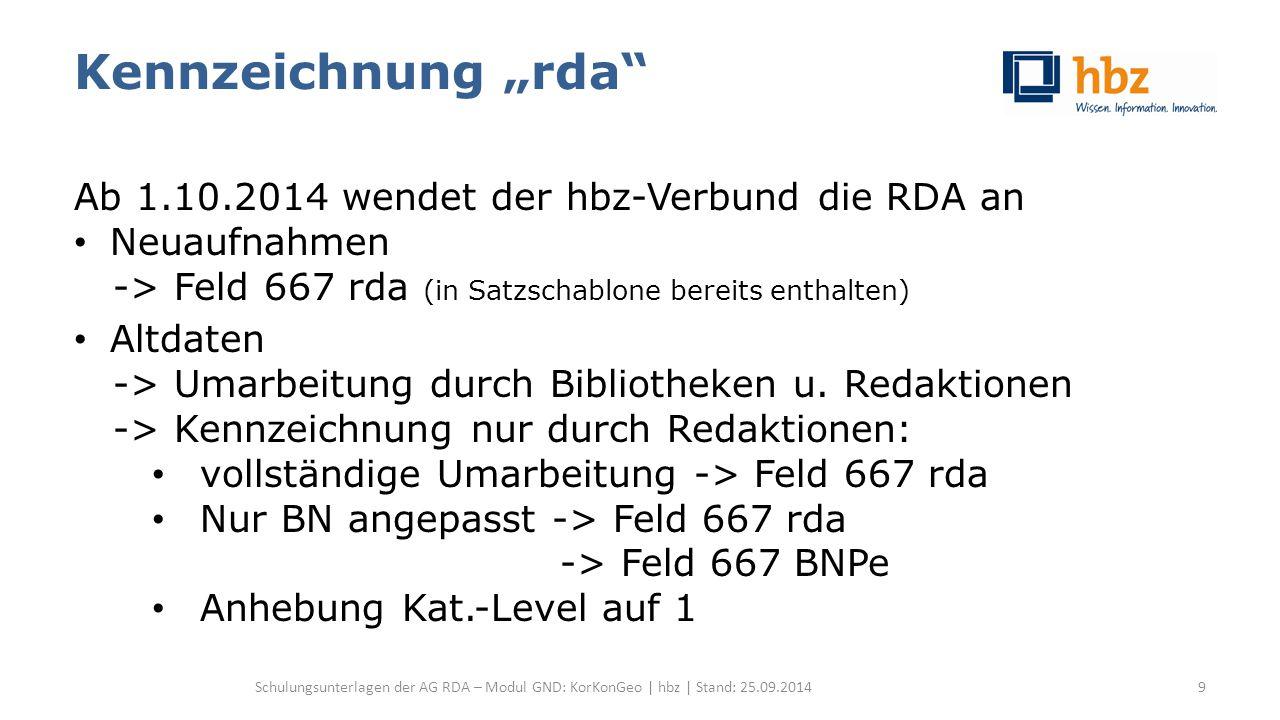 Körperschaften allgemein Sonstige identifizierende Merkmale Datum -1- RDA 11.4 / RDA 11.13.1.5 Datum Gründungjahr (RDA 11.4.3) Auflösungsjahr (RDA 11.4.4) Nach gregorianischem Kalender Sofern leicht ermittelbar Wenn möglich exakte Datumsangaben als separates Element in Form TT.MM.JJ zusätzlich erfassen Schulungsunterlagen der AG RDA – Modul GND: KorKonGeo | hbz | Stand: 25.09.201480