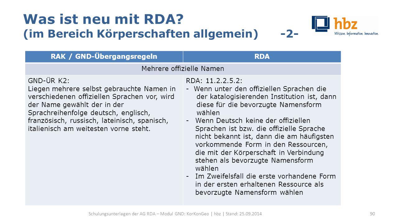 Was ist neu mit RDA? (im Bereich Körperschaften allgemein) -2- Schulungsunterlagen der AG RDA – Modul GND: KorKonGeo | hbz | Stand: 25.09.2014 RAK / G