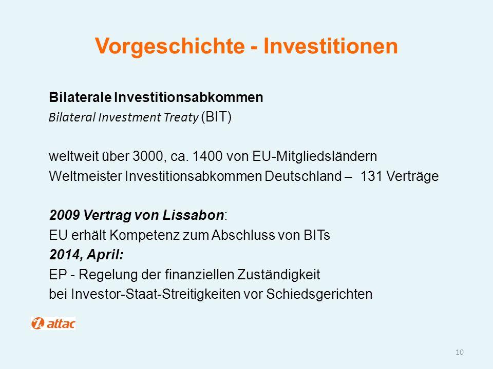 Vorgeschichte - Investitionen Bilaterale Investitionsabkommen Bilateral Investment Treaty (BIT) weltweit über 3000, ca. 1400 von EU-Mitgliedsländern W