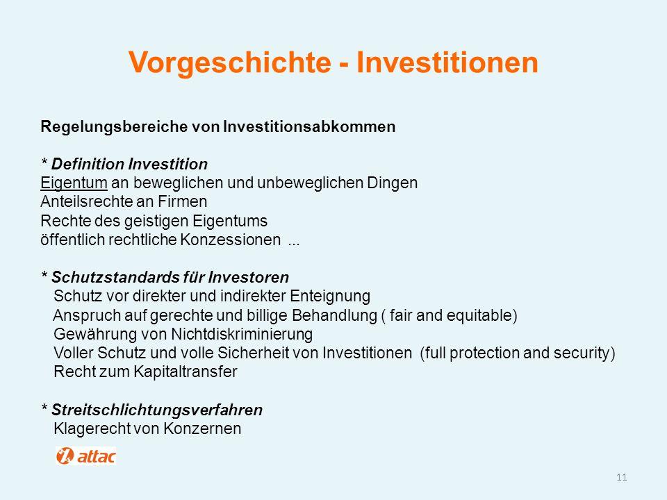 Vorgeschichte - Investitionen Regelungsbereiche von Investitionsabkommen * Definition Investition Eigentum an beweglichen und unbeweglichen Dingen Ant