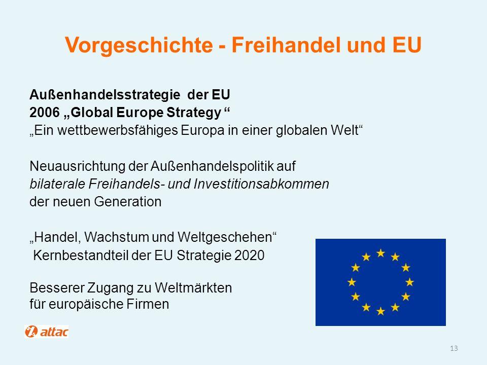 """Vorgeschichte - Freihandel und EU Außenhandelsstrategie der EU 2006 """"Global Europe Strategy """" """"Ein wettbewerbsfähiges Europa in einer globalen Welt"""" N"""