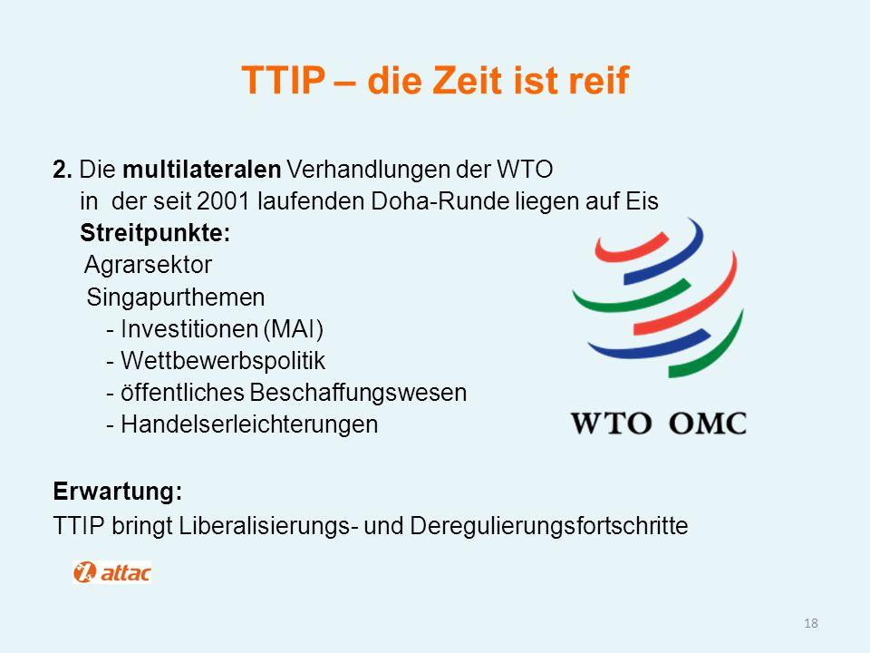 TTIP – die Zeit ist reif 2. Die multilateralen Verhandlungen der WTO in der seit 2001 laufenden Doha-Runde liegen auf Eis Streitpunkte: Agrarsektor Si