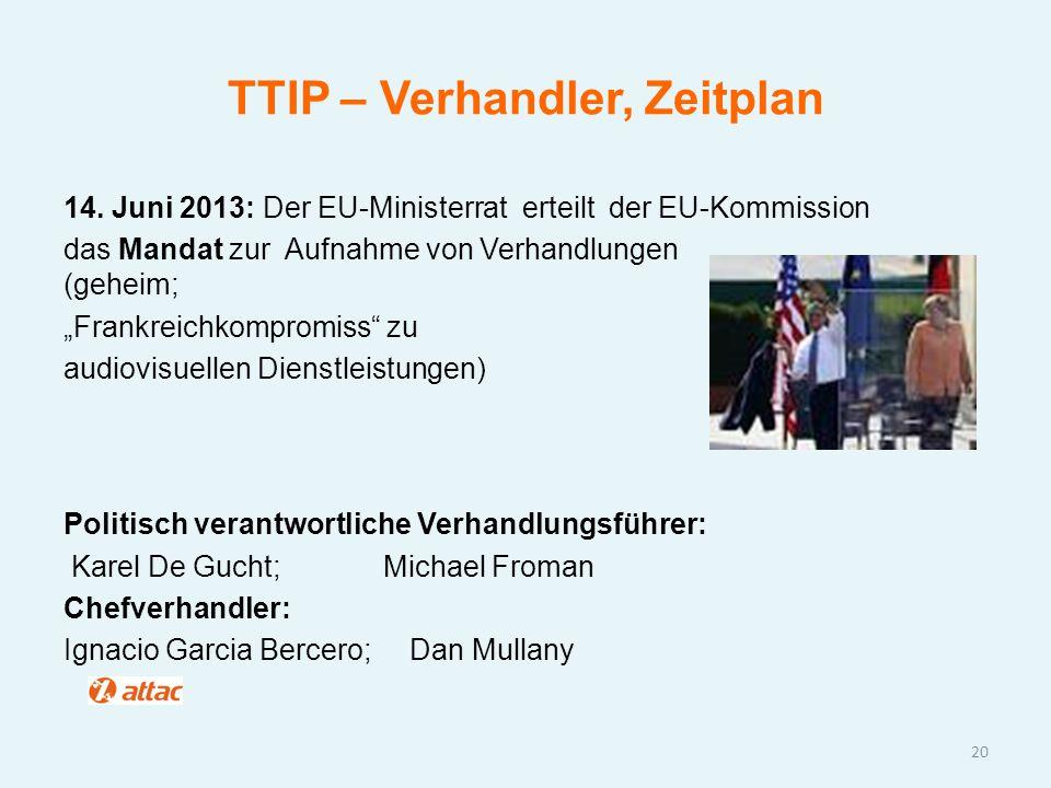 """TTIP – Verhandler, Zeitplan 14. Juni 2013: Der EU-Ministerrat erteilt der EU-Kommission das Mandat zur Aufnahme von Verhandlungen (geheim; """"Frankreich"""