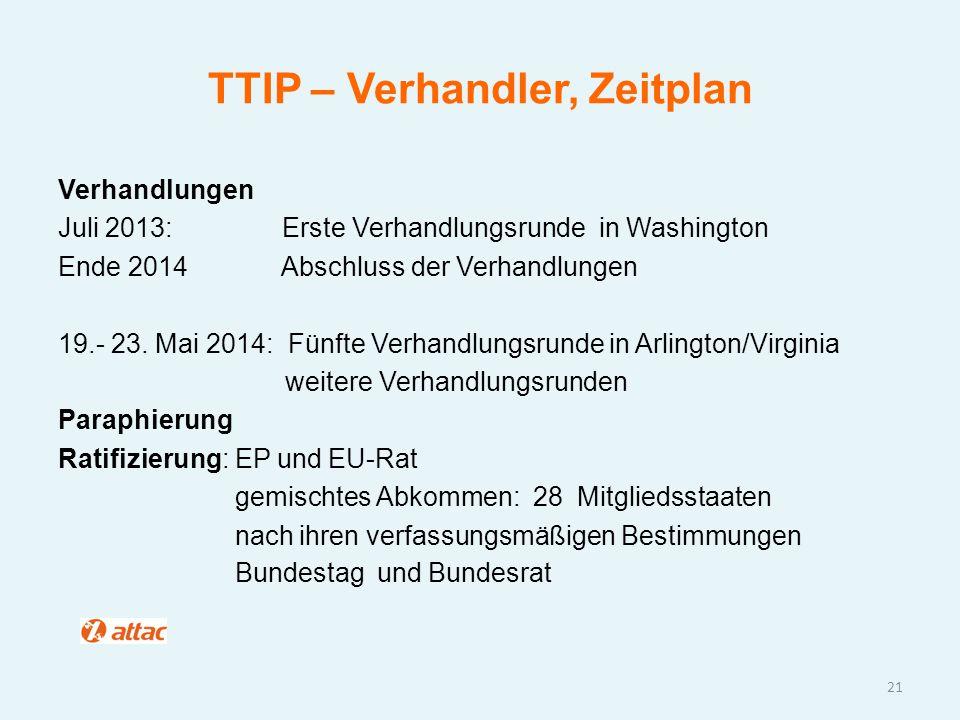 TTIP – Verhandler, Zeitplan Verhandlungen Juli 2013: Erste Verhandlungsrunde in Washington Ende 2014 Abschluss der Verhandlungen 19.- 23. Mai 2014: Fü