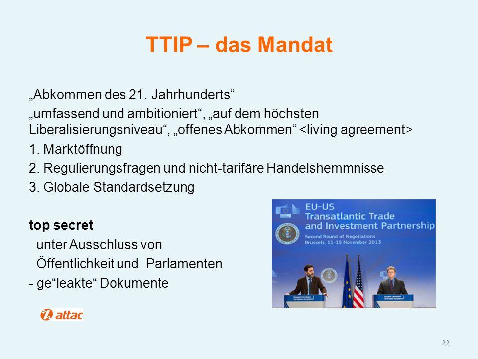 """TTIP – das Mandat """"Abkommen des 21. Jahrhunderts"""" """"umfassend und ambitioniert"""", """"auf dem höchsten Liberalisierungsniveau"""", """"offenes Abkommen"""" 1. Markt"""