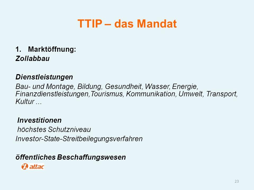 TTIP – das Mandat 1.Marktöffnung: Zollabbau Dienstleistungen Bau- und Montage, Bildung, Gesundheit, Wasser, Energie, Finanzdienstleistungen,Tourismus,
