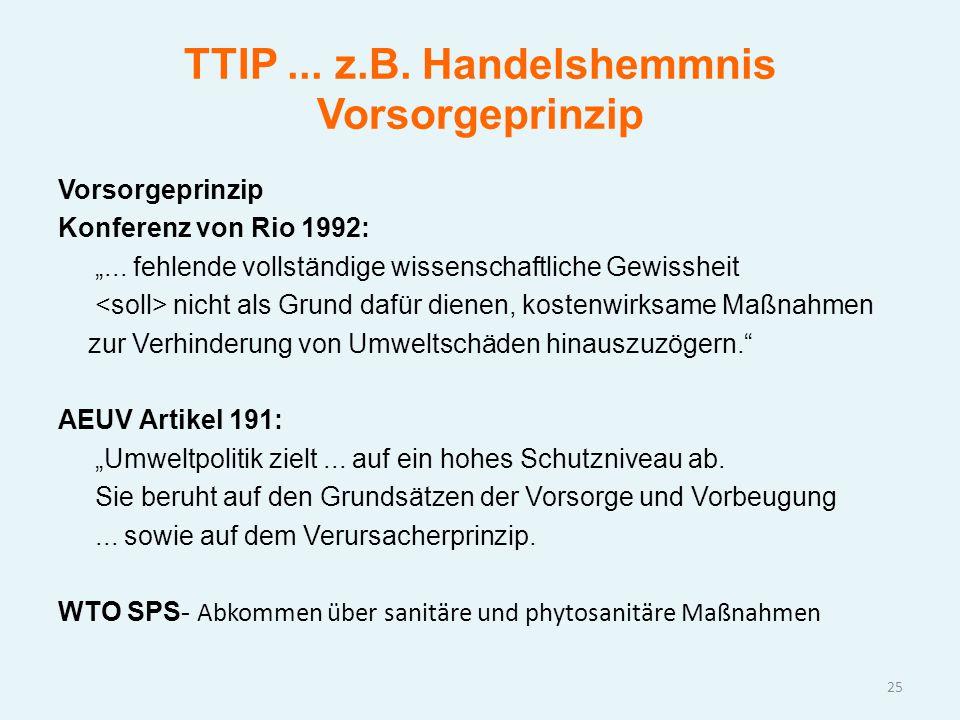 """TTIP... z.B. Handelshemmnis Vorsorgeprinzip Vorsorgeprinzip Konferenz von Rio 1992: """"... fehlende vollständige wissenschaftliche Gewissheit nicht als"""