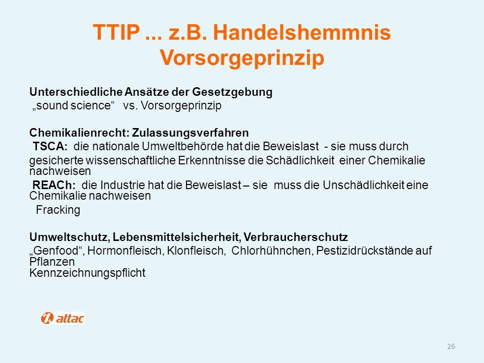 """TTIP... z.B. Handelshemmnis Vorsorgeprinzip Unterschiedliche Ansätze der Gesetzgebung """"sound science"""" vs. Vorsorgeprinzip Chemikalienrecht: Zulassungs"""