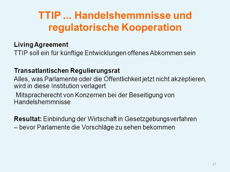 TTIP... Handelshemmnisse und regulatorische Kooperation Living Agreement TTIP soll ein für künftige Entwicklungen offenes Abkommen sein Transatlantisc