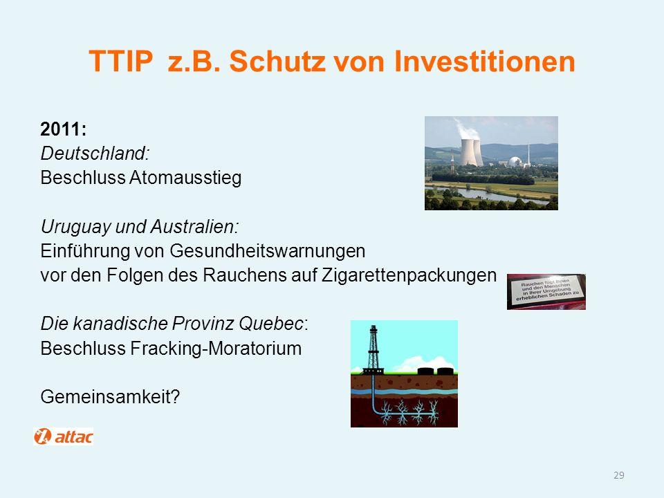 TTIP z.B. Schutz von Investitionen 2011: Deutschland: Beschluss Atomausstieg Uruguay und Australien: Einführung von Gesundheitswarnungen vor den Folge