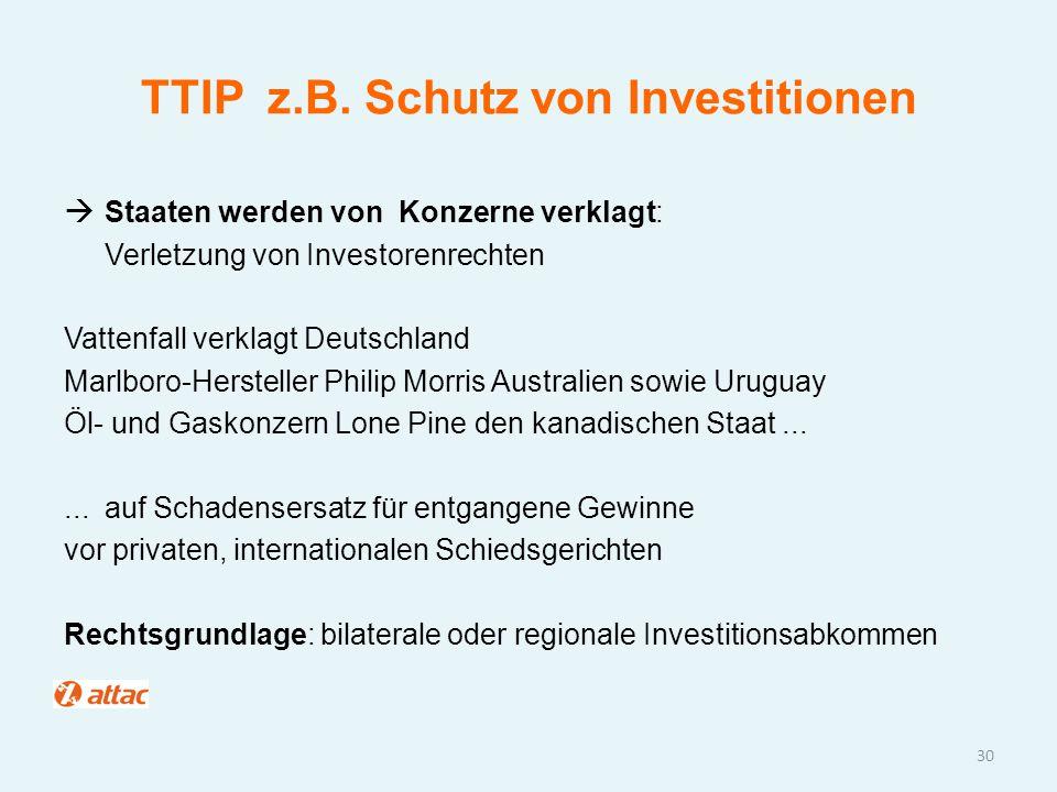 TTIP z.B. Schutz von Investitionen  Staaten werden von Konzerne verklagt: Verletzung von Investorenrechten Vattenfall verklagt Deutschland Marlboro-H
