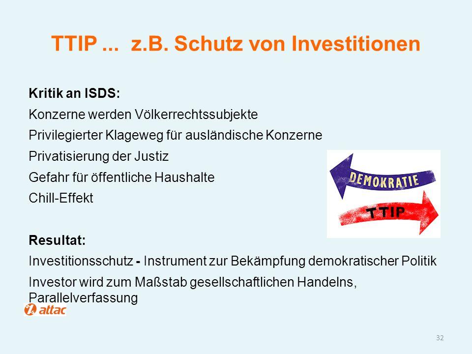 TTIP... z.B. Schutz von Investitionen Kritik an ISDS: Konzerne werden Völkerrechtssubjekte Privilegierter Klageweg für ausländische Konzerne Privatisi