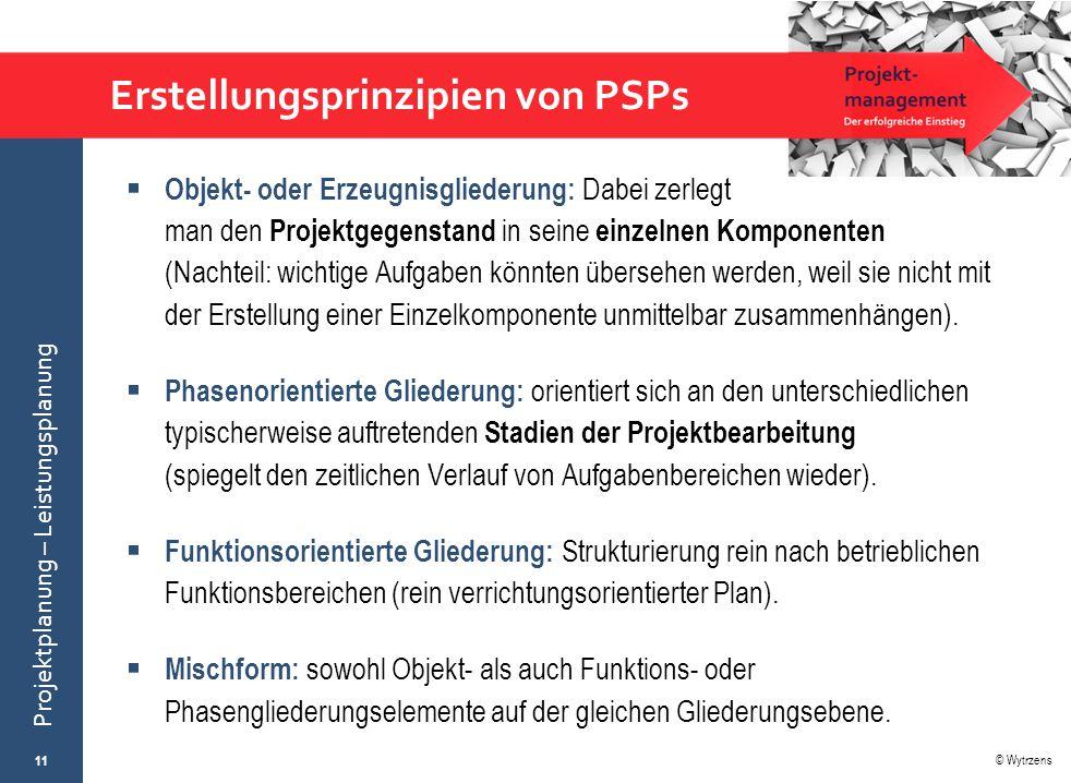 © Wytrzens Projektplanung – Leistungsplanung Erstellungsprinzipien von PSPs  Objekt- oder Erzeugnisgliederung: Dabei zerlegt man den Projektgegenstan