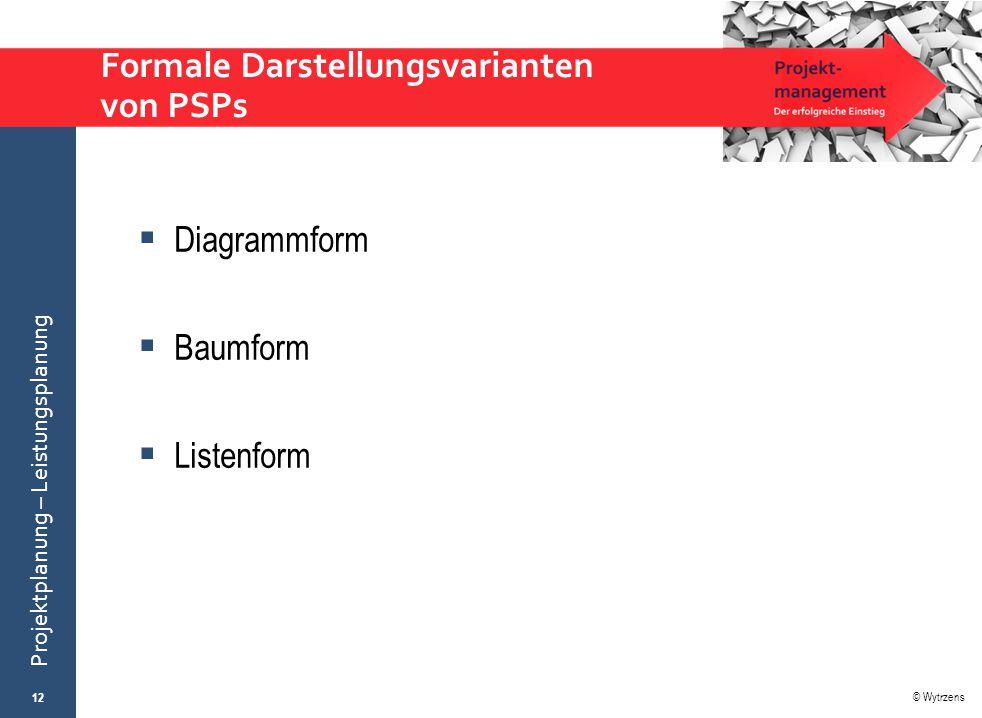 © Wytrzens Projektplanung – Leistungsplanung Formale Darstellungsvarianten von PSPs  Diagrammform  Baumform  Listenform 12