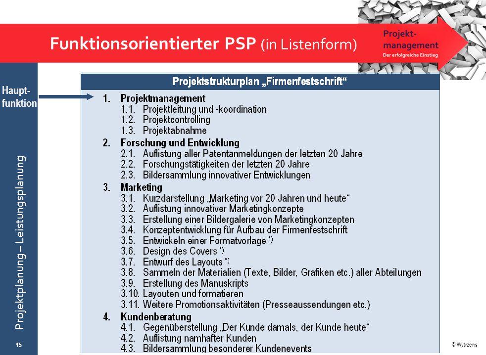 © Wytrzens Projektplanung – Leistungsplanung Funktionsorientierter PSP (in Listenform) 15 Haupt- funktion