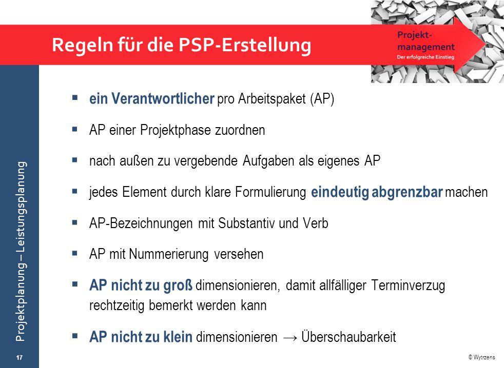 © Wytrzens Projektplanung – Leistungsplanung Regeln für die PSP-Erstellung  ein Verantwortlicher pro Arbeitspaket (AP)  AP einer Projektphase zuordn
