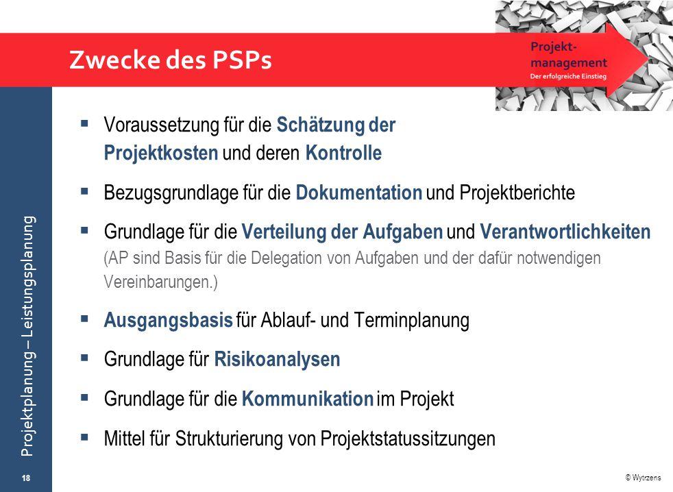 © Wytrzens Projektplanung – Leistungsplanung Zwecke des PSPs  Voraussetzung für die Schätzung der Projektkosten und deren Kontrolle  Bezugsgrundlage
