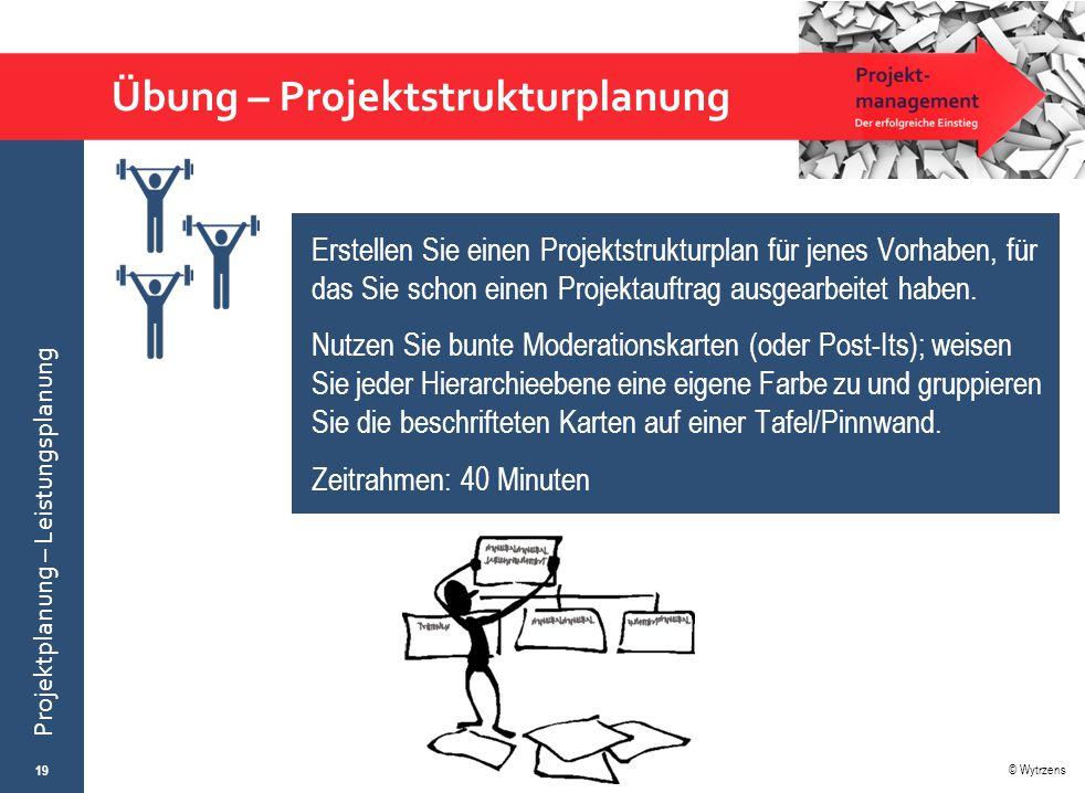 © Wytrzens Projektplanung – Leistungsplanung Übung – Projektstrukturplanung 19 Erstellen Sie einen Projektstrukturplan für jenes Vorhaben, für das Sie