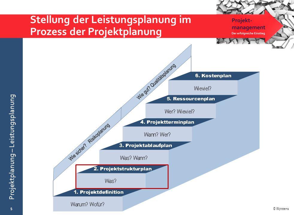 © Wytrzens Projektplanung – Leistungsplanung Stellung der Leistungsplanung im Prozess der Projektplanung 5