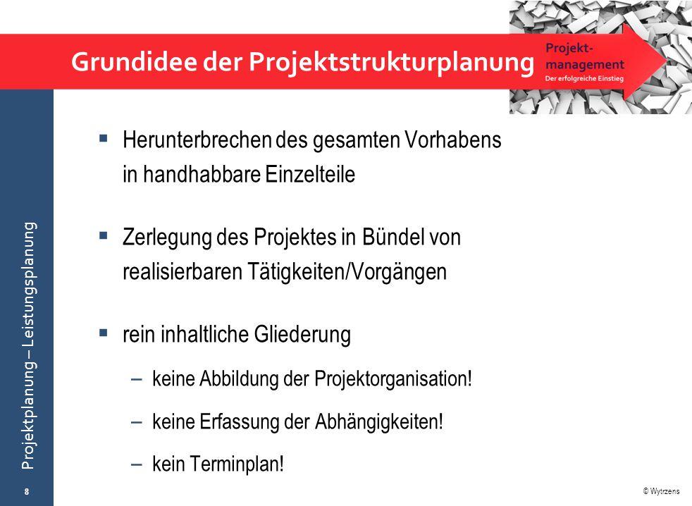 © Wytrzens Projektplanung – Leistungsplanung Grundidee der Projektstrukturplanung  Herunterbrechen des gesamten Vorhabens in handhabbare Einzelteile