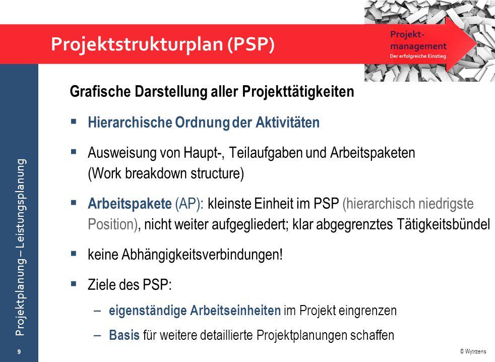 © Wytrzens Projektplanung – Leistungsplanung Projektstrukturplan (PSP) Grafische Darstellung aller Projekttätigkeiten  Hierarchische Ordnung der Akti