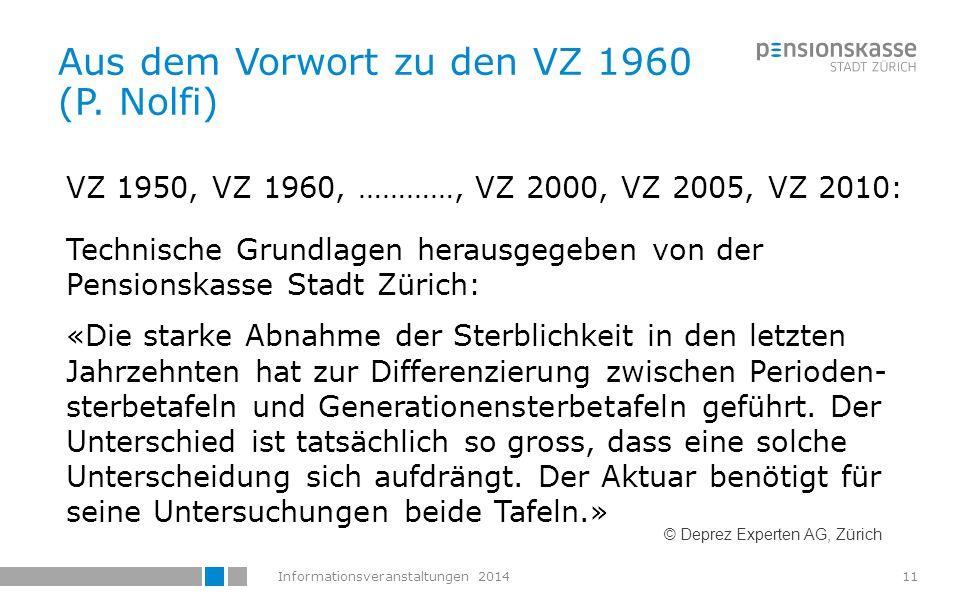 Informationsveranstaltungen 201412 Weiter unten schreibt Nolfi im Vorwort zu den VZ 1960: «Die Ansichten über das Ausmass der zu erwartenden Senkung der Sterbeziffern und über die Methode ihrer Erfassung gehen jedoch auseinander.