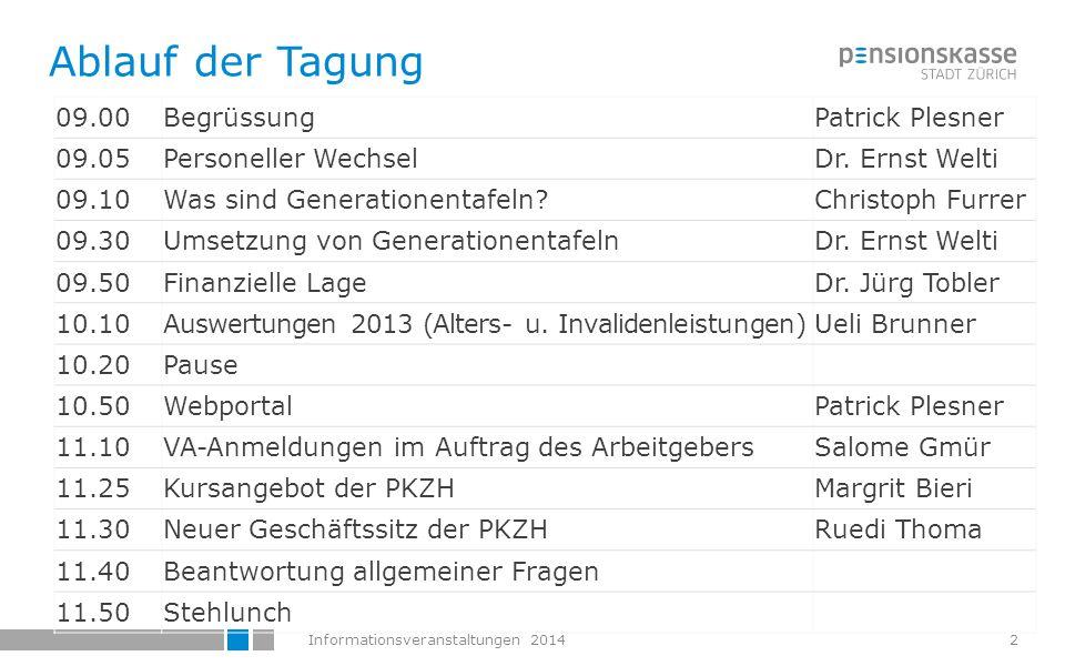 Informationsveranstaltungen 2014 Personeller Wechsel im Führungsteam der PKZH Dr.