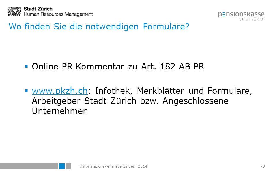Informationsveranstaltungen 2014 Kursangebot der PKZH Margrit Bieri Abteilungsleiter Versicherung Fachverantwortung Invalidenleistungen