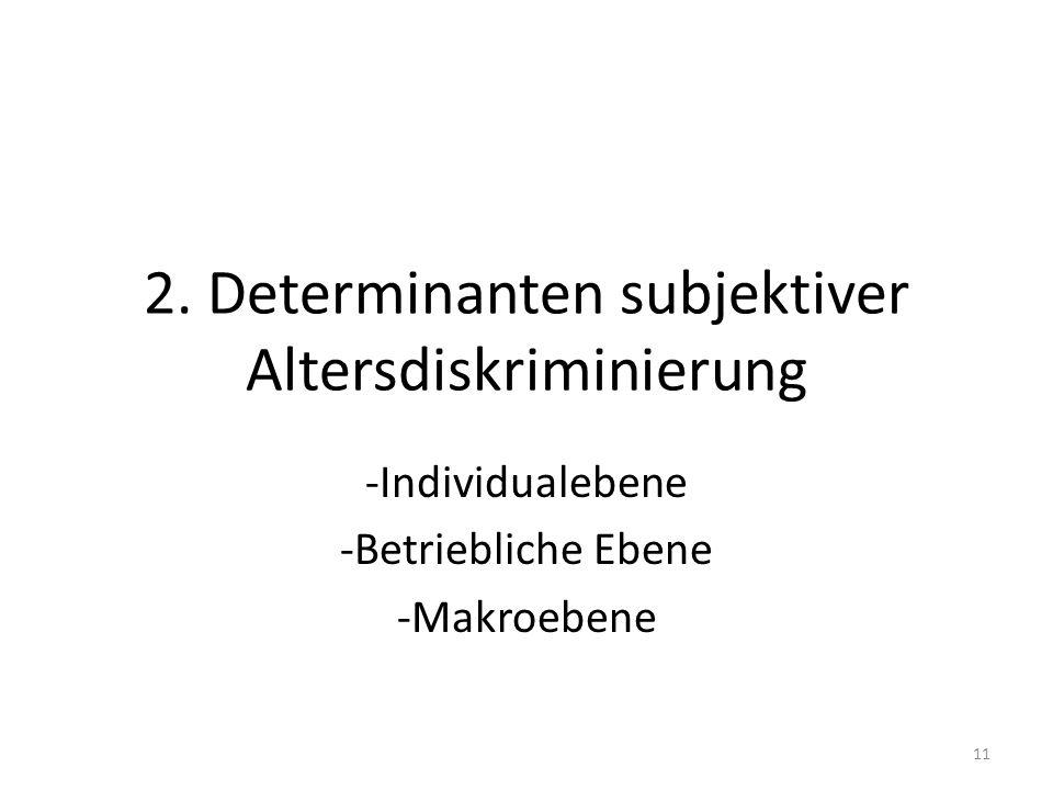 2. Determinanten subjektiver Altersdiskriminierung -Individualebene -Betriebliche Ebene -Makroebene 11