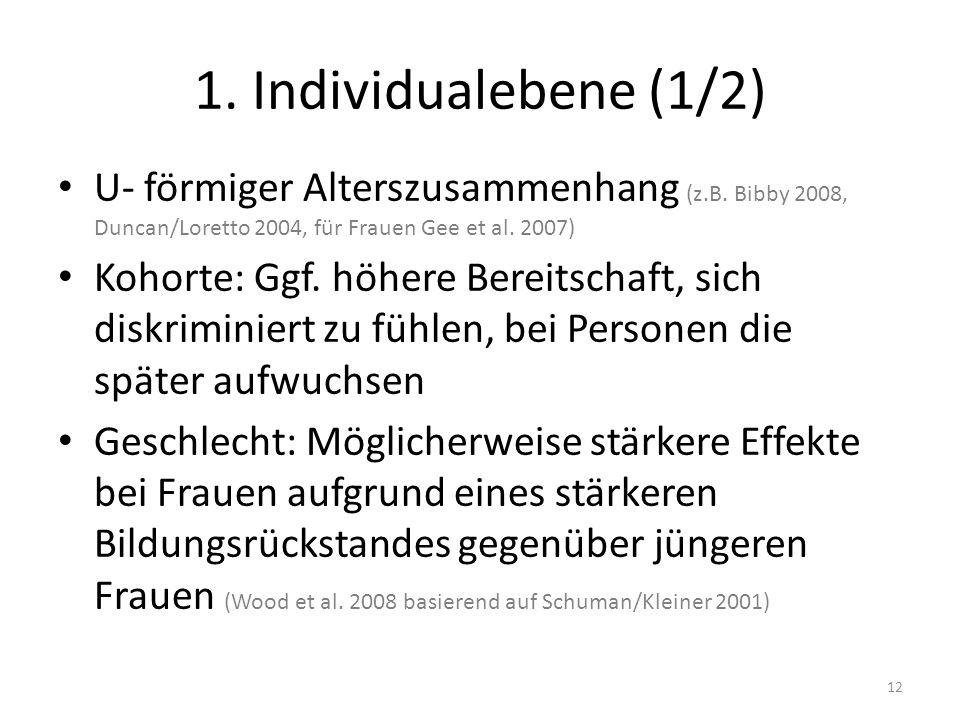 1. Individualebene (1/2) U- förmiger Alterszusammenhang (z.B. Bibby 2008, Duncan/Loretto 2004, für Frauen Gee et al. 2007) Kohorte: Ggf. höhere Bereit