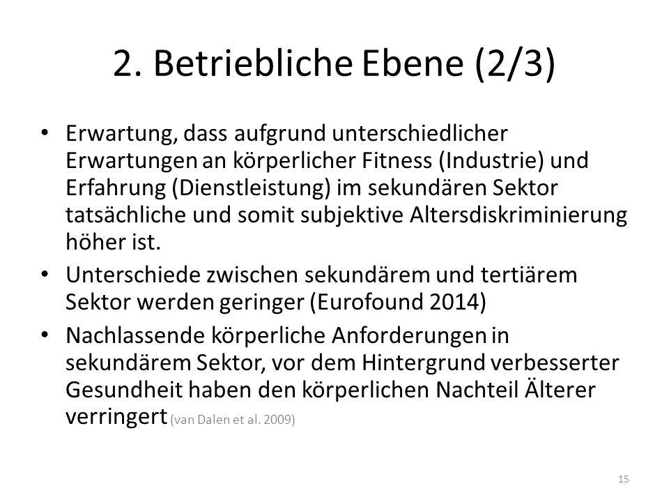 2. Betriebliche Ebene (2/3) Erwartung, dass aufgrund unterschiedlicher Erwartungen an körperlicher Fitness (Industrie) und Erfahrung (Dienstleistung)