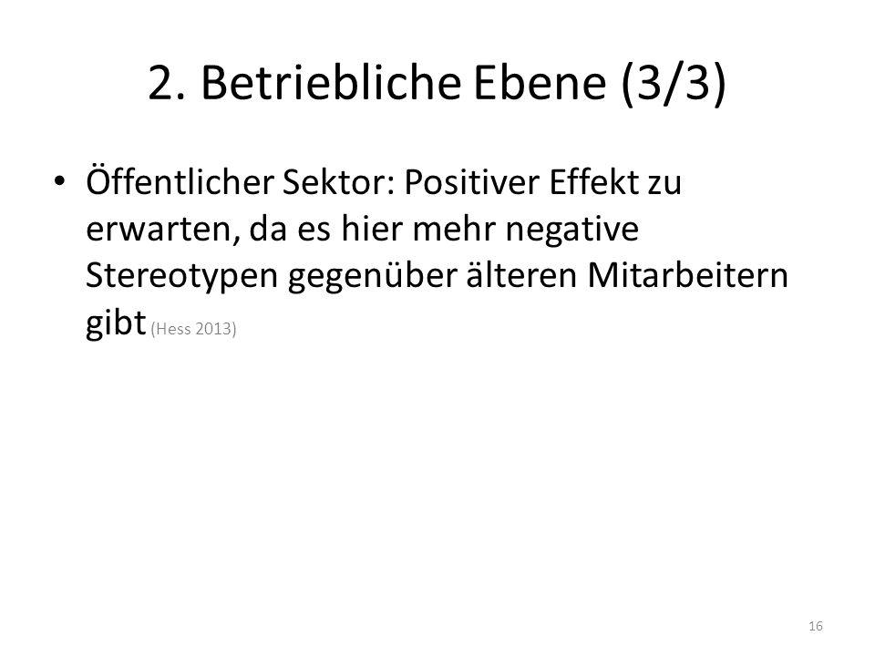 2. Betriebliche Ebene (3/3) Öffentlicher Sektor: Positiver Effekt zu erwarten, da es hier mehr negative Stereotypen gegenüber älteren Mitarbeitern gib