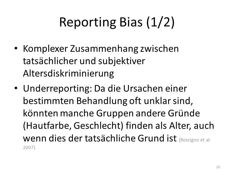 Reporting Bias (1/2) Komplexer Zusammenhang zwischen tatsächlicher und subjektiver Altersdiskriminierung Underreporting: Da die Ursachen einer bestimm