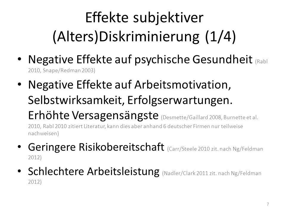 Effekte subjektiver (Alters)Diskriminierung (1/4) Negative Effekte auf psychische Gesundheit (Rabl 2010, Snape/Redman 2003) Negative Effekte auf Arbei