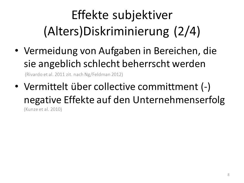 Effekte subjektiver (Alters)Diskriminierung (2/4) Vermeidung von Aufgaben in Bereichen, die sie angeblich schlecht beherrscht werden (Rivardo et al. 2