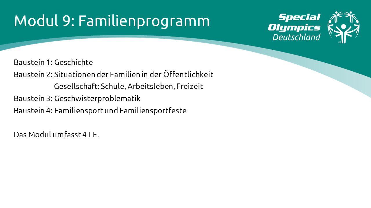 Modul 9: Familienprogramm Baustein 1: Geschichte Baustein 2: Situationen der Familien in der Öffentlichkeit Gesellschaft: Schule, Arbeitsleben, Freize