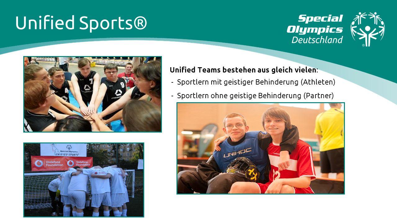 Unified Teams bestehen aus gleich vielen: - Sportlern mit geistiger Behinderung (Athleten) - Sportlern ohne geistige Behinderung (Partner) Unified Spo