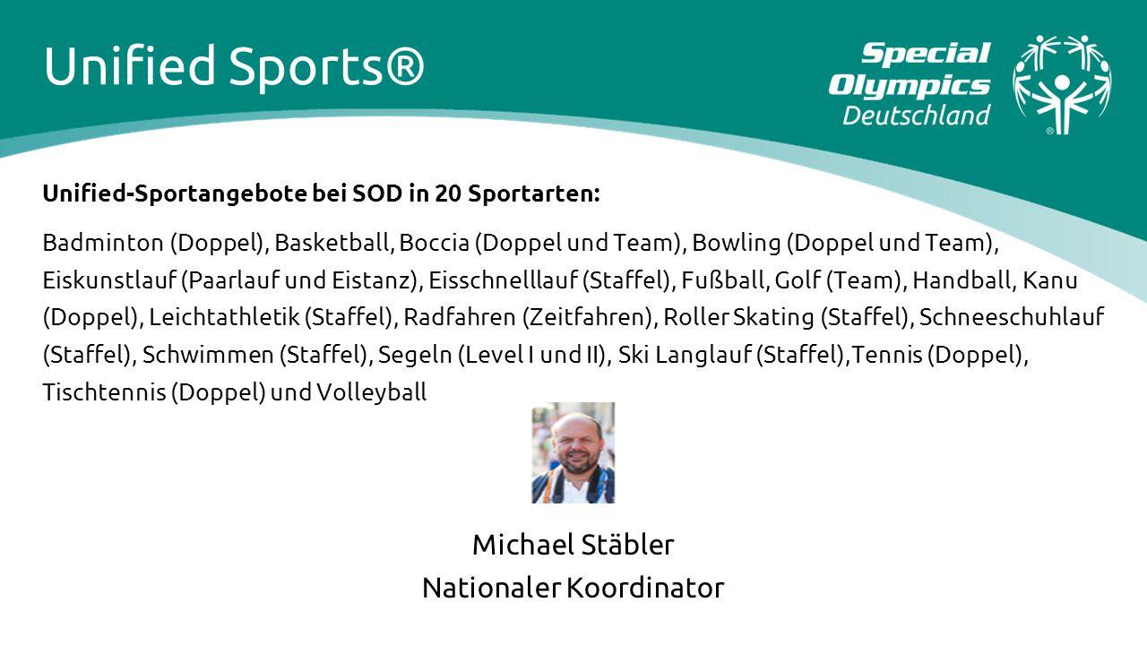 Unified-Sportangebote bei SOD in 20 Sportarten: Badminton (Doppel), Basketball, Boccia (Doppel und Team), Bowling (Doppel und Team), Eiskunstlauf (Paa