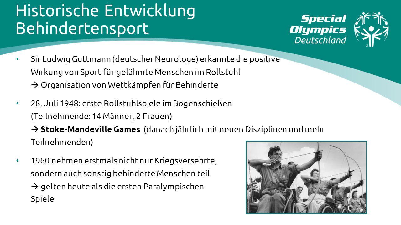 Sir Ludwig Guttmann (deutscher Neurologe) erkannte die positive Wirkung von Sport für gelähmte Menschen im Rollstuhl  Organisation von Wettkämpfen fü