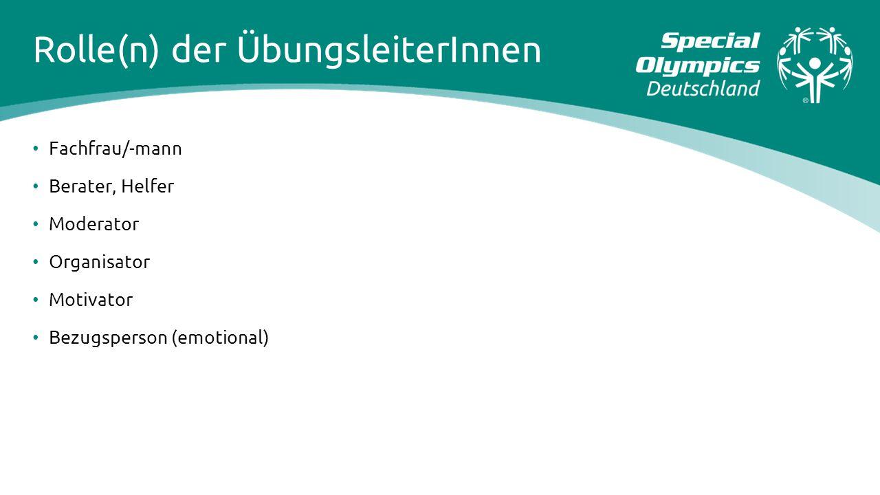 Rolle(n) der ÜbungsleiterInnen Fachfrau/-mann Berater, Helfer Moderator Organisator Motivator Bezugsperson (emotional)