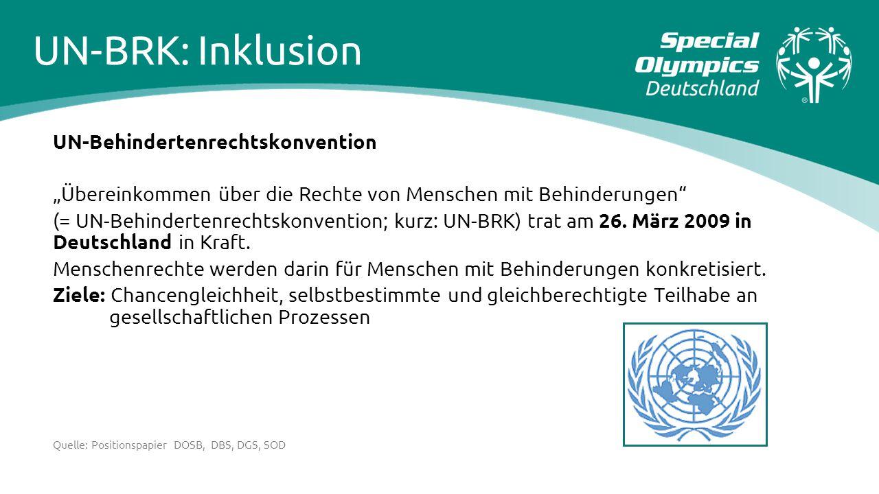"""UN-Behindertenrechtskonvention """"Übereinkommen über die Rechte von Menschen mit Behinderungen"""" (= UN-Behindertenrechtskonvention; kurz: UN-BRK) trat am"""