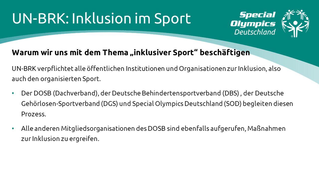 """UN-BRK: Inklusion im Sport Warum wir uns mit dem Thema """"inklusiver Sport"""" beschäftigen UN-BRK verpflichtet alle öffentlichen Institutionen und Organis"""