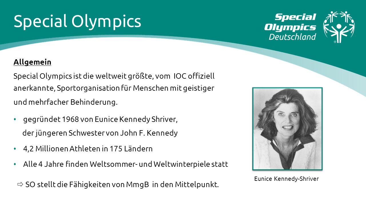 Special Olympics Allgemein Special Olympics ist die weltweit größte, vom IOC offiziell anerkannte, Sportorganisation für Menschen mit geistiger und me