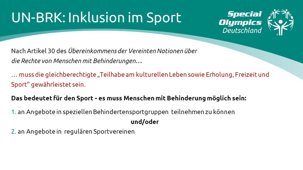 UN-BRK: Inklusion im Sport Nach Artikel 30 des Übereinkommens der Vereinten Nationen über die Rechte von Menschen mit Behinderungen… … muss die gleich