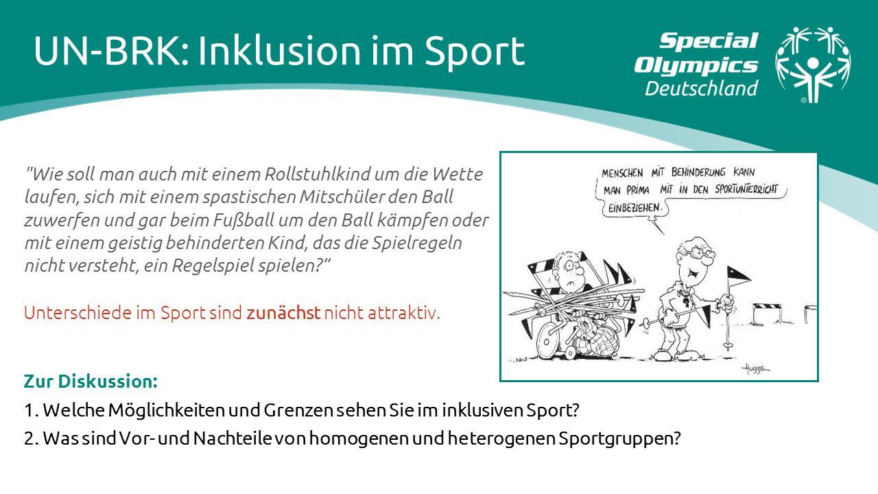 Zur Diskussion: 1. Welche Möglichkeiten und Grenzen sehen Sie im inklusiven Sport? 2. Was sind Vor- und Nachteile von homogenen und heterogenen Sportg