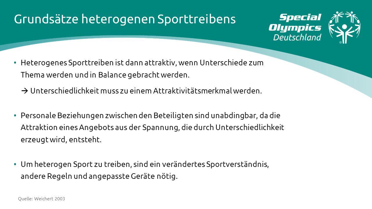 Grundsätze heterogenen Sporttreibens Heterogenes Sporttreiben ist dann attraktiv, wenn Unterschiede zum Thema werden und in Balance gebracht werden. 