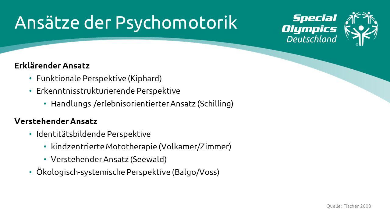 Ansätze der Psychomotorik Erklärender Ansatz Funktionale Perspektive (Kiphard) Erkenntnisstrukturierende Perspektive Handlungs-/erlebnisorientierter A
