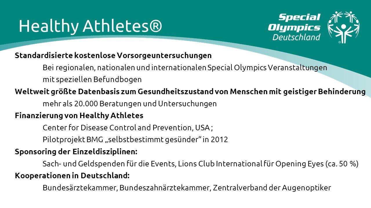 Standardisierte kostenlose Vorsorgeuntersuchungen Bei regionalen, nationalen und internationalen Special Olympics Veranstaltungen mit speziellen Befun